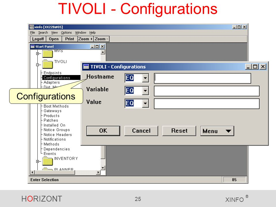 HORIZONT 25 XINFO ® TIVOLI - Configurations Configurations