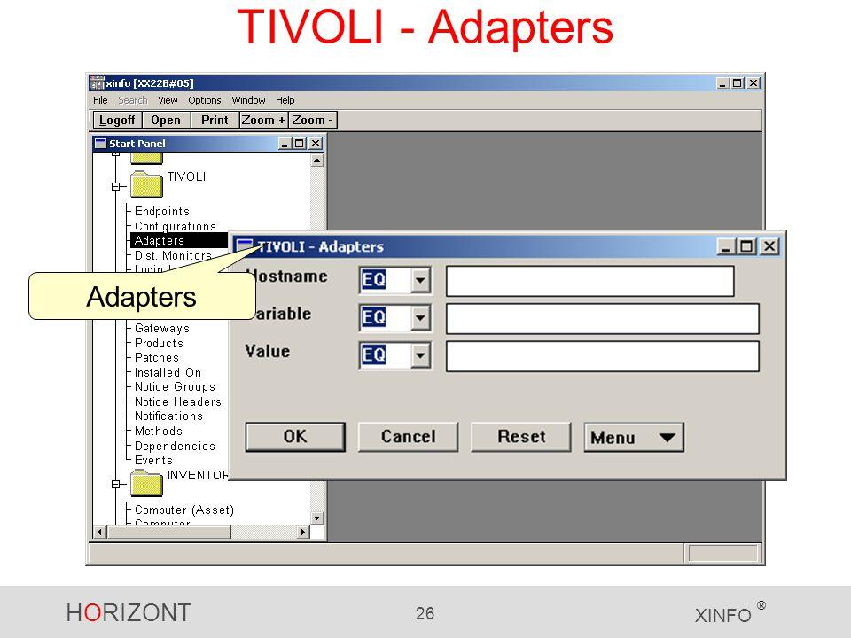 HORIZONT 26 XINFO ® TIVOLI - Adapters Adapters