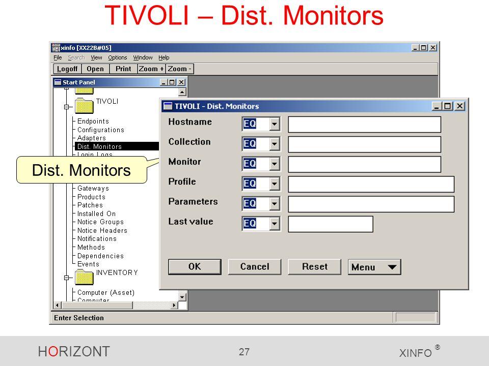 HORIZONT 27 XINFO ® TIVOLI – Dist. Monitors Dist. Monitors