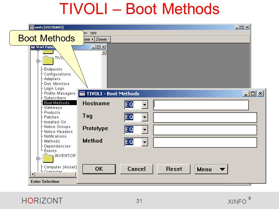 HORIZONT 31 XINFO ® TIVOLI – Boot Methods Boot Methods