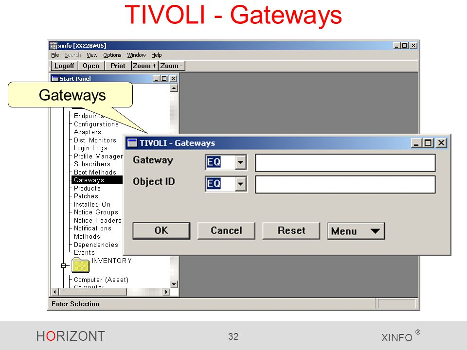 HORIZONT 32 XINFO ® TIVOLI - Gateways Gateways