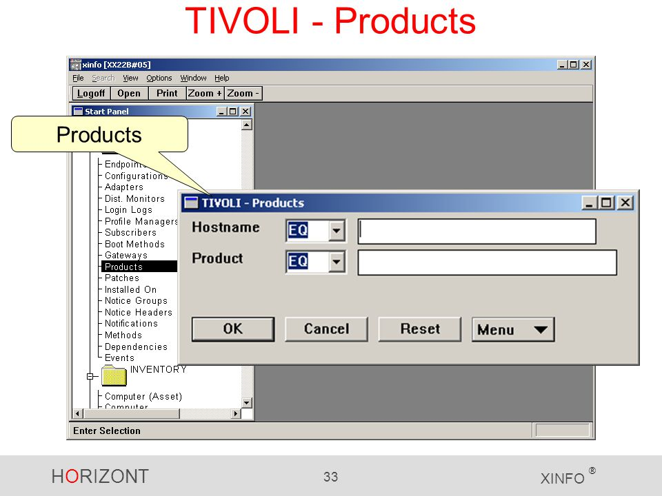 HORIZONT 33 XINFO ® TIVOLI - Products Products