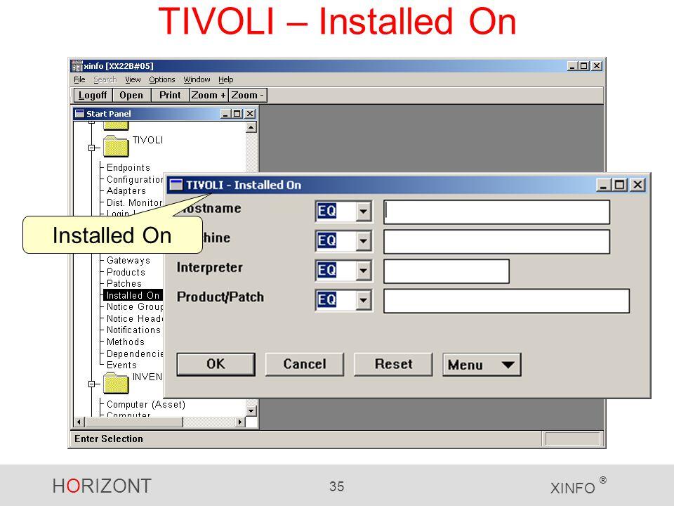 HORIZONT 35 XINFO ® TIVOLI – Installed On Installed On