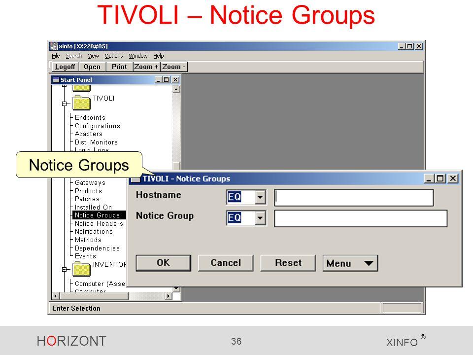 HORIZONT 36 XINFO ® TIVOLI – Notice Groups Notice Groups