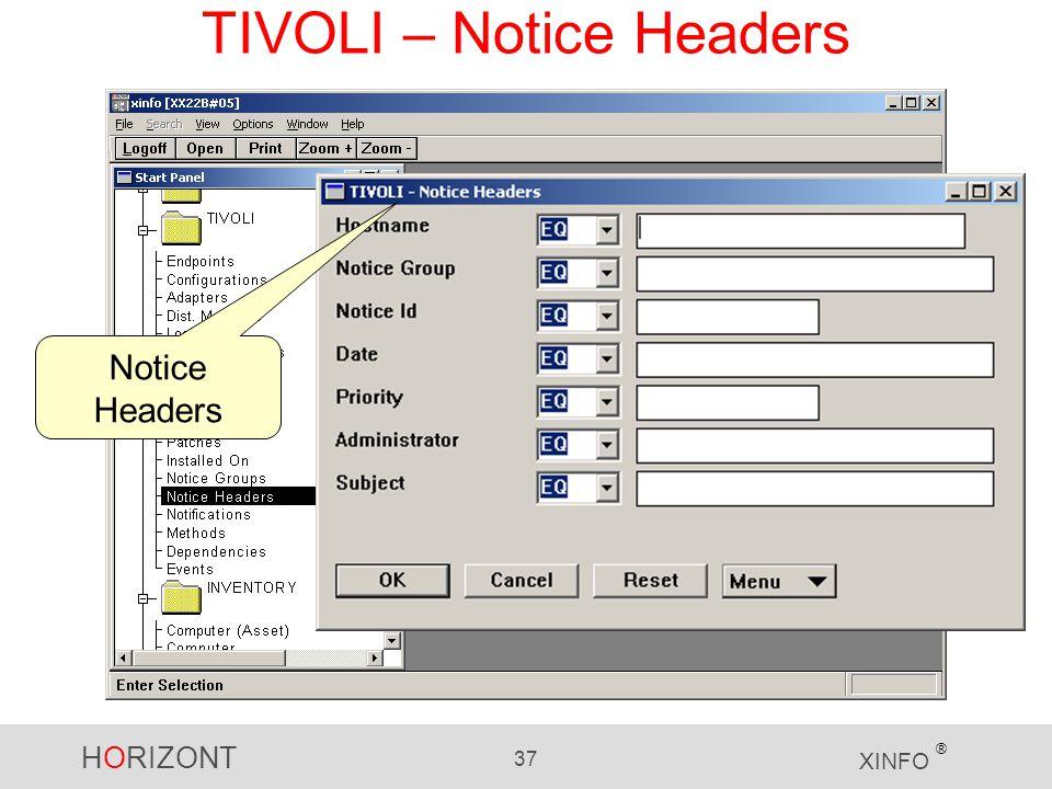 HORIZONT 37 XINFO ® TIVOLI – Notice Headers Notice Headers