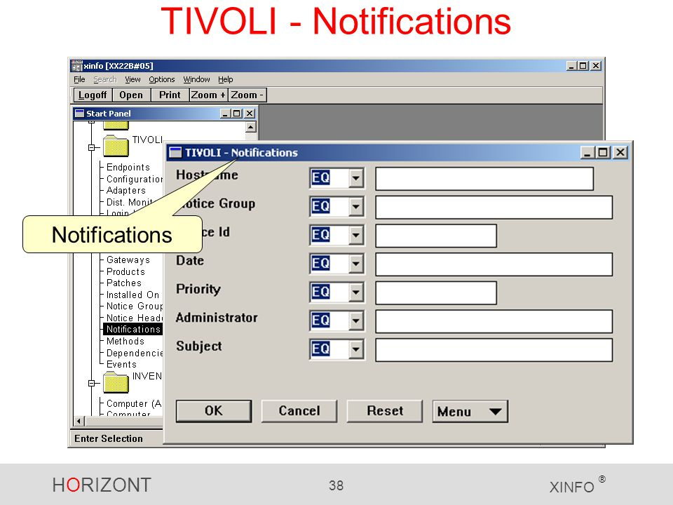 HORIZONT 38 XINFO ® TIVOLI - Notifications Notifications