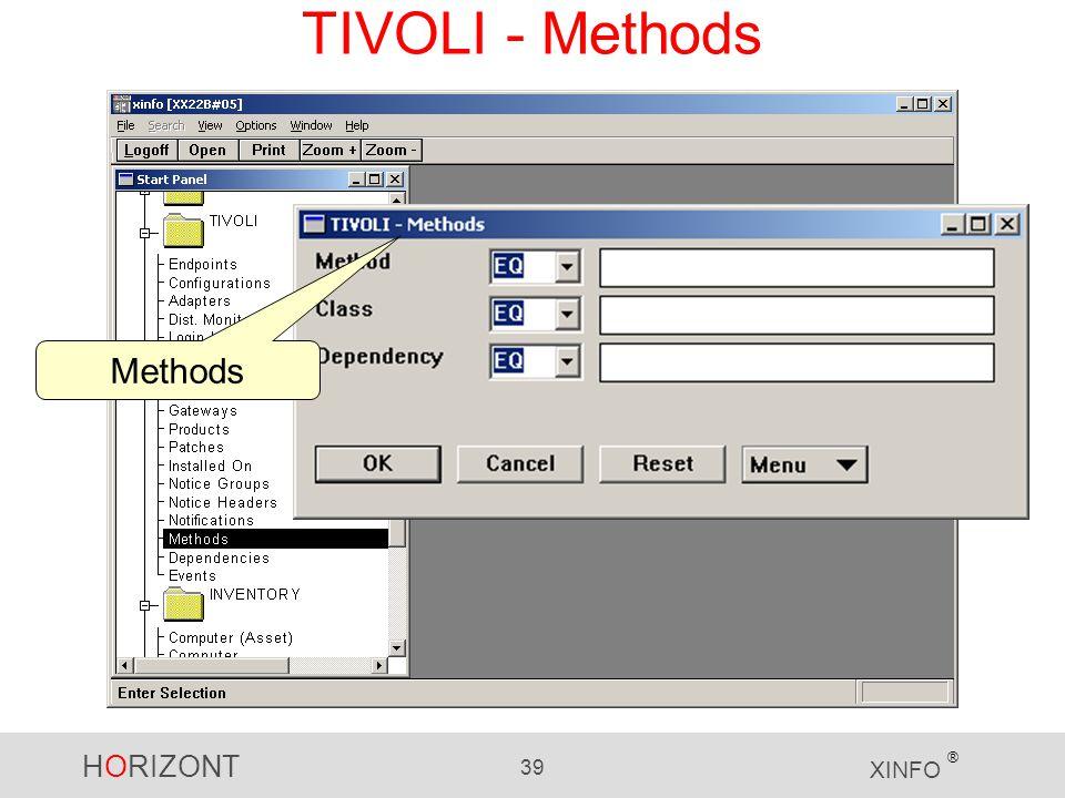 HORIZONT 39 XINFO ® TIVOLI - Methods Methods