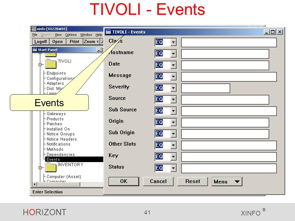 HORIZONT 41 XINFO ® TIVOLI - Events Events