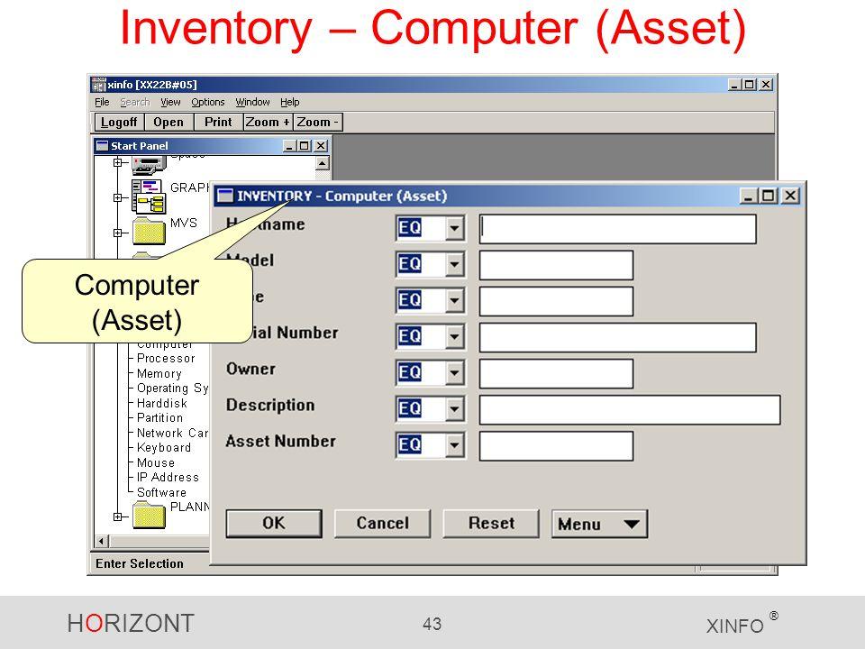 HORIZONT 43 XINFO ® Inventory – Computer (Asset) Computer (Asset)