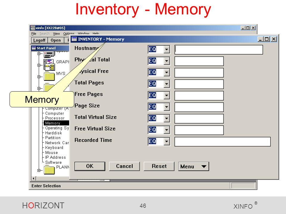HORIZONT 46 XINFO ® Inventory - Memory Memory
