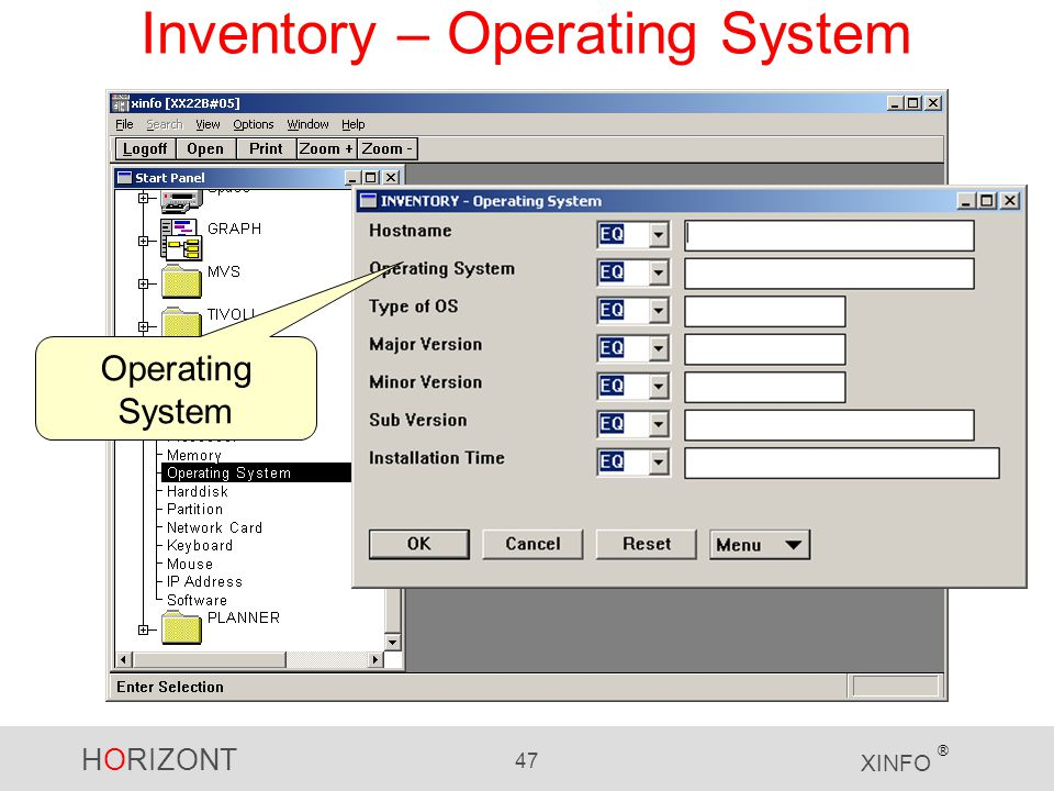 HORIZONT 47 XINFO ® Inventory – Operating System Operating System