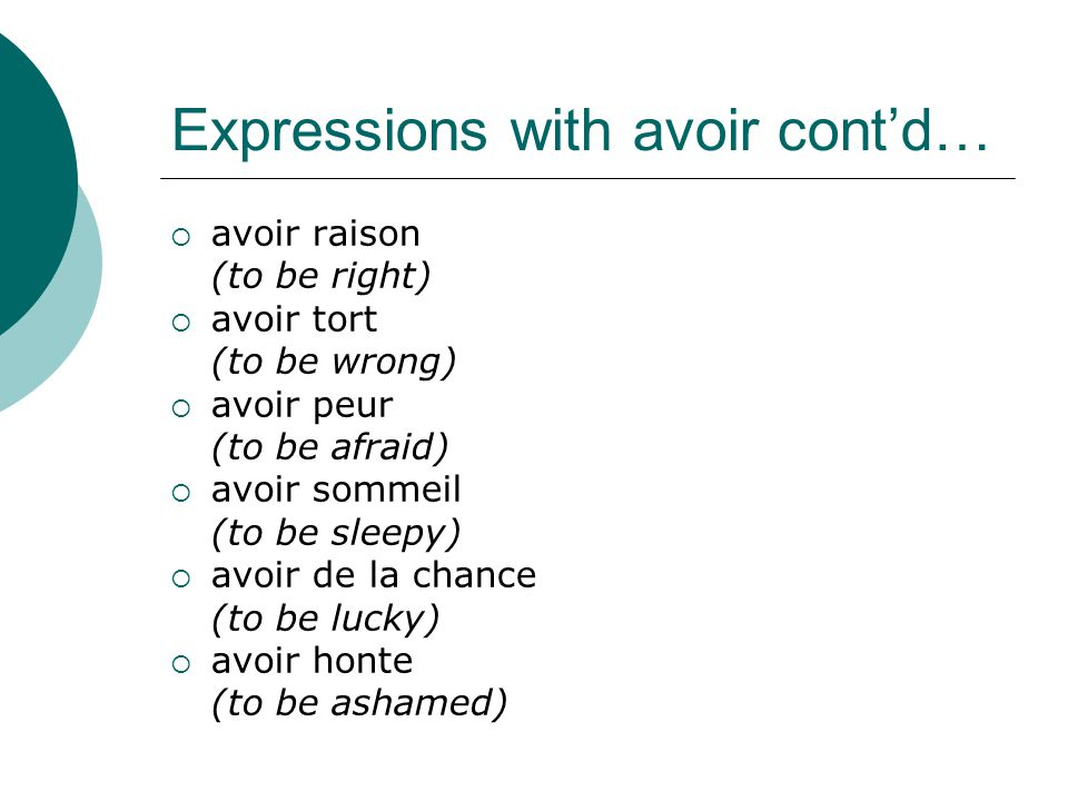 Expressions with avoir cont'd…  avoir l'air + ADJECTIVE (to seem, look)  avoir besoin de + NOUN OR INFINITIVE (to need)  avoir envie de + NOUN OR INFINITIVE (to want or feel like)  avoir l'intention de + INFINITIVE (to intend)