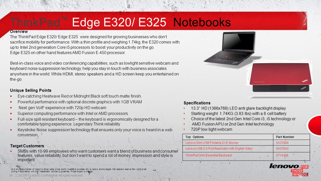 16© 2011 Lenovo Confidential. All rights reserved. ThinkPad ™ Edge E320/ E325 Notebooks Overview The ThinkPad Edge E320/ Edge E325 were designed for