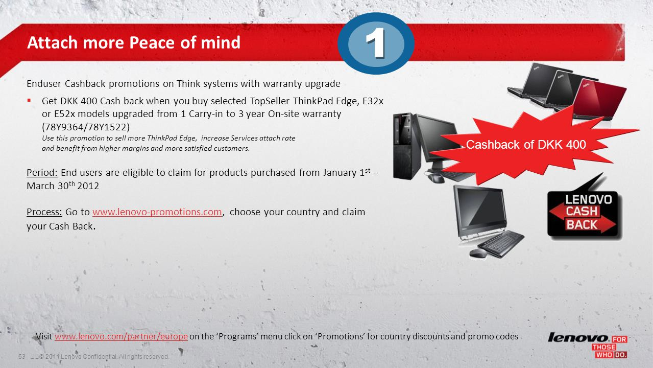 53© 2011 Lenovo Confidential. All rights reserved. Attach more Peace of mind Enduser Cashback promotions on Think systems with warranty upgrade  Ge