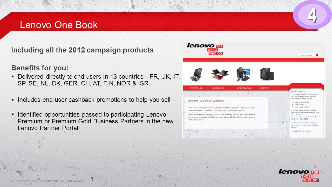63© 2011 Lenovo Confidential. All rights reserved. Lenovo One Book Including all the 2012 campaign products Benefits for you:  Delivered directly t