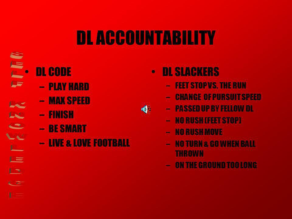 DL ACCOUNTABILITY DL CODE –PLAY HARD –MAX SPEED –FINISH –BE SMART –LIVE & LOVE FOOTBALL DL SLACKERS –FEET STOP VS.