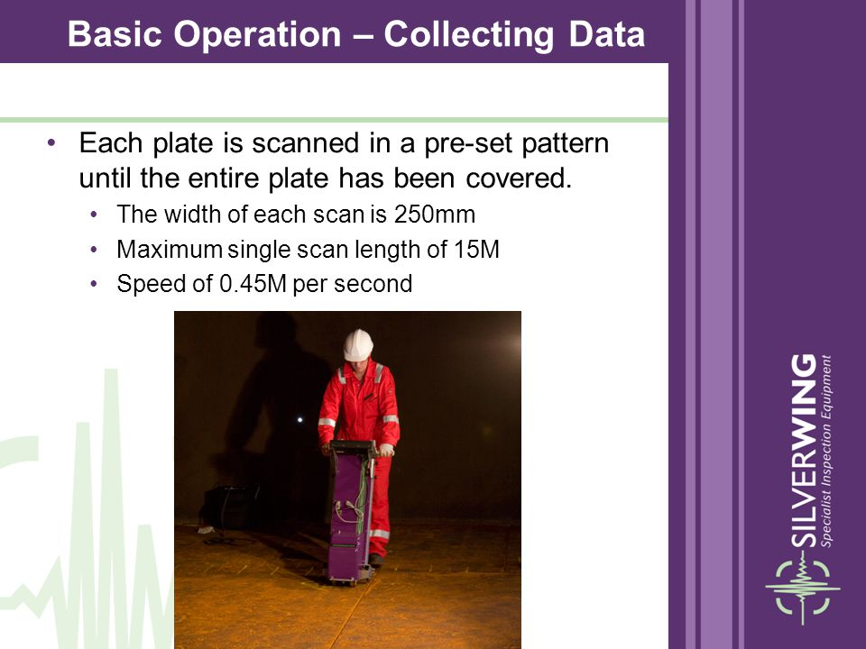 Each plate is scanned in a pre-set pattern until the entire plate has been covered. The width of each scan is 250mm Maximum single scan length of 15M