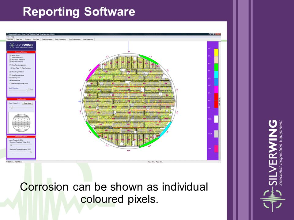 Corrosion can be shown as individual coloured pixels. Reporting Software
