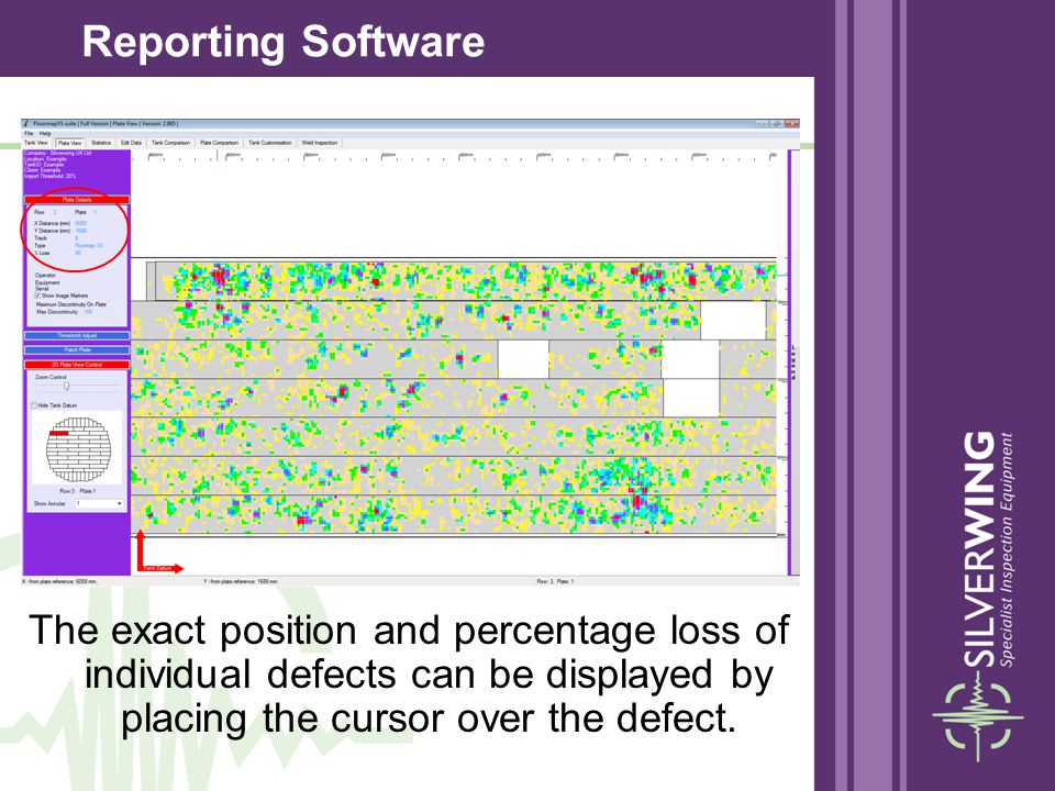 The exact position and percentage loss of individual defects can be displayed by placing the cursor over the defect. Reporting Software