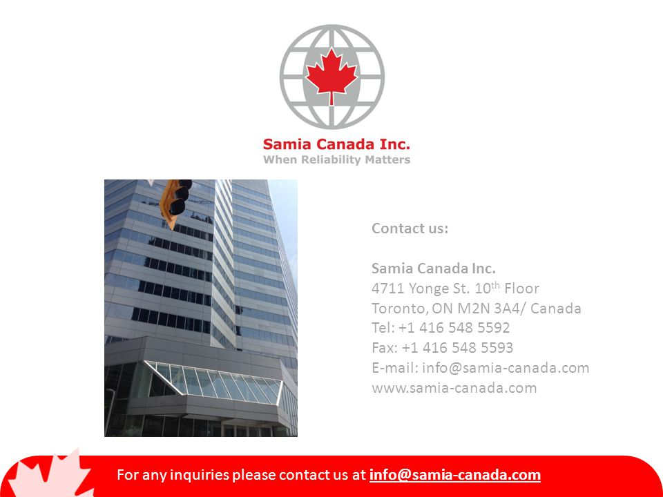 Contact us: Samia Canada Inc. 4711 Yonge St.