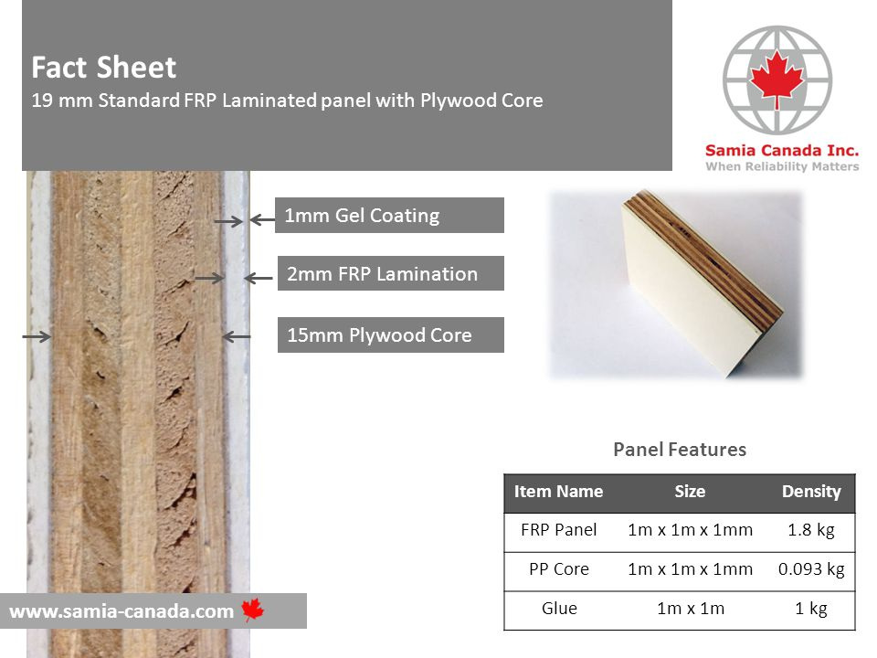 1mm Gel Coating 2mm FRP Lamination 15mm Plywood Core Item NameSizeDensity FRP Panel1m x 1m x 1mm1.8 kg PP Core1m x 1m x 1mm0.093 kg Glue1m x 1m1 kg Panel Features www.samia-canada.com Fact Sheet 19 mm Standard FRP Laminated panel with Plywood Core