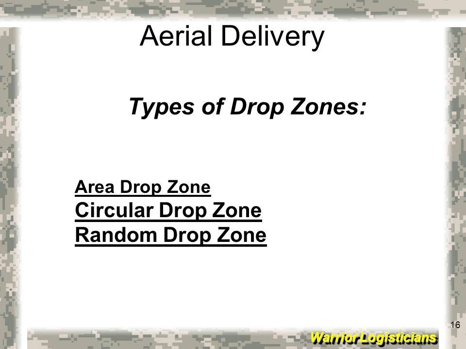 16 Warrior Logisticians 16 Aerial Delivery Types of Drop Zones: Area Drop Zone Circular Drop Zone Random Drop Zone