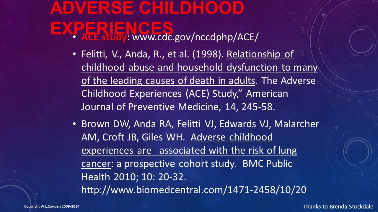 ADVERSE CHILDHOOD EXPERIENCES ACE study: www.cdc.gov/nccdphp/ACE/ Felitti, V., Anda, R., et al. (1998). Relationship of childhood abuse and household