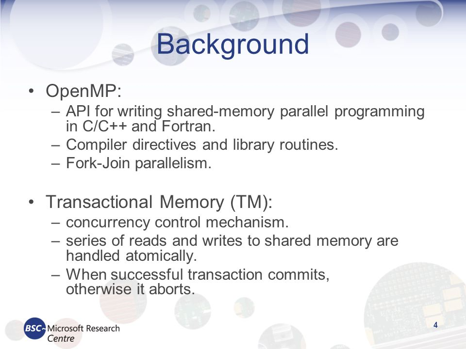 5 Motivation Just a few TM applications available –STAMP, Haskell STM benchmark, RMS-TM … –Clear need for more complex applications.