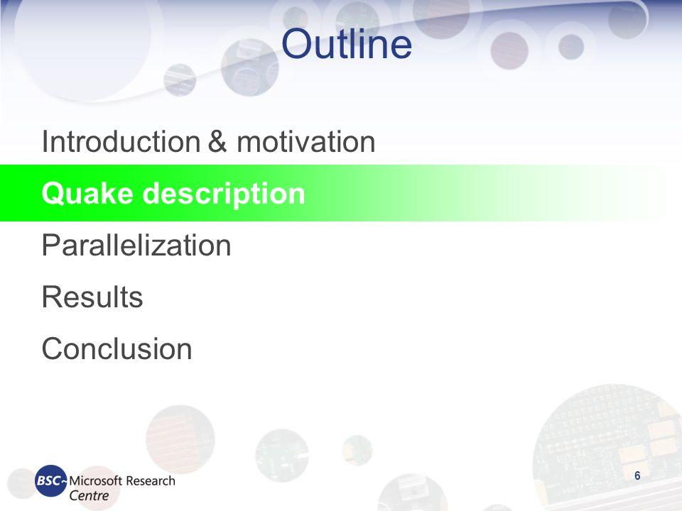 27 Outline Introduction & motivation Quake description Parallelization Results Conclusion