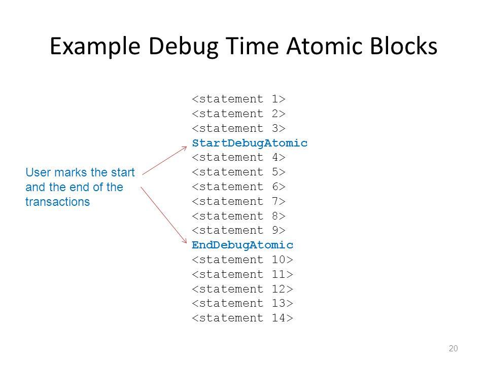 Example Debug Time Atomic Blocks 20 StartDebugAtomic EndDebugAtomic User marks the start and the end of the transactions