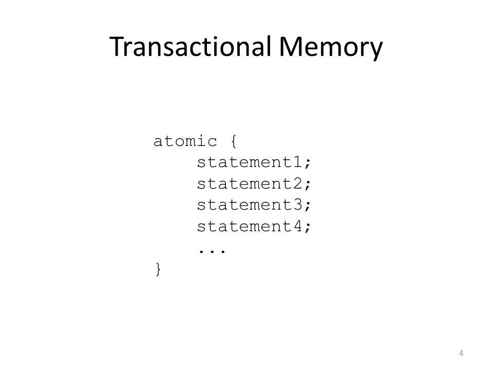 Transactional Memory 4 atomic { statement1; statement2; statement3; statement4;... }