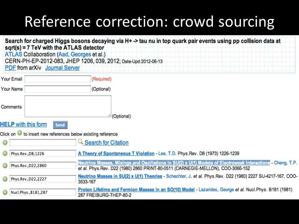Reference correction: crowd sourcing