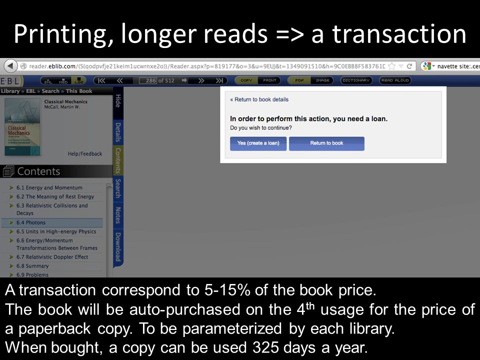 Printing, longer reads => a transaction A transaction correspond to 5-15% of the book price.