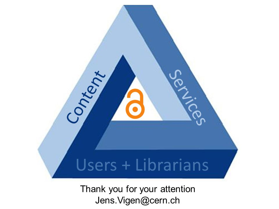 Users + Librarians Content Services Thank you for your attention Jens.Vigen@cern.ch