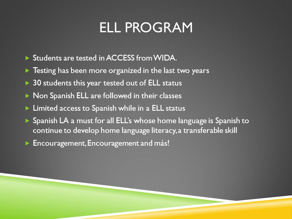 ELL PROGRAM  Students are tested in ACCESS from WIDA.