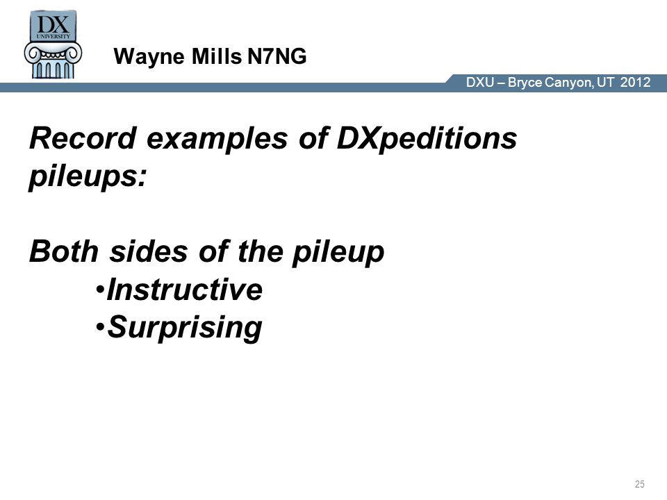 DX University – Visalia 2012 25 DXU – Bryce Canyon, UT 2012 Wayne Mills N7NG Record examples of DXpeditions pileups: Both sides of the pileup Instructive Surprising