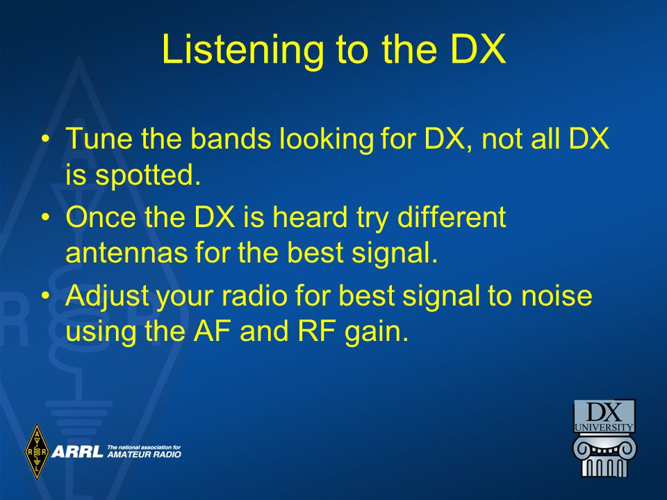 Listening to the DX Tune the bands looking for DX, not all DX is spotted.