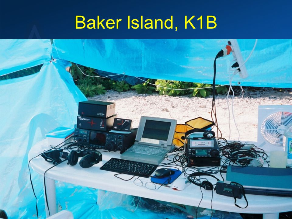 Baker Island, K1B Operations can occur from… –In and around a Hotel –Rental property –Rural areas –Uninhabited Islands –On Sand, Rocks or Ice –No facilities, AC power or Water/Food