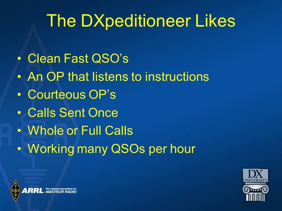 The DXpeditioneer Likes Clean Fast QSO's An OP that listens to instructions Courteous OP's Calls Sent Once Whole or Full Calls Working many QSOs per hour