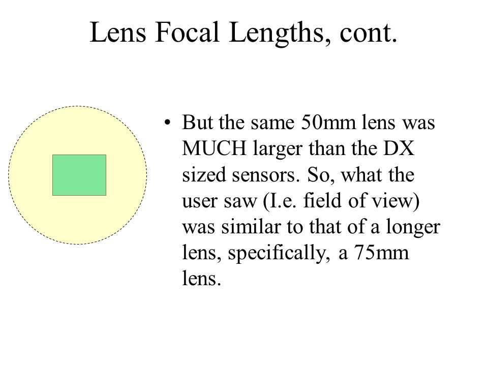 Lens Focal Lengths, cont. But the same 50mm lens was MUCH larger than the DX sized sensors.