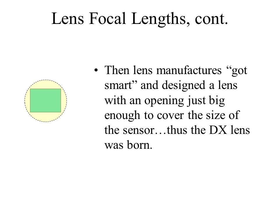 Lens Focal Lengths, cont.