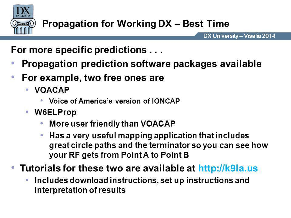 DX University – Visalia 2014DX University – Visalia 201 Propagation for Working DX – Best Time For more specific predictions...
