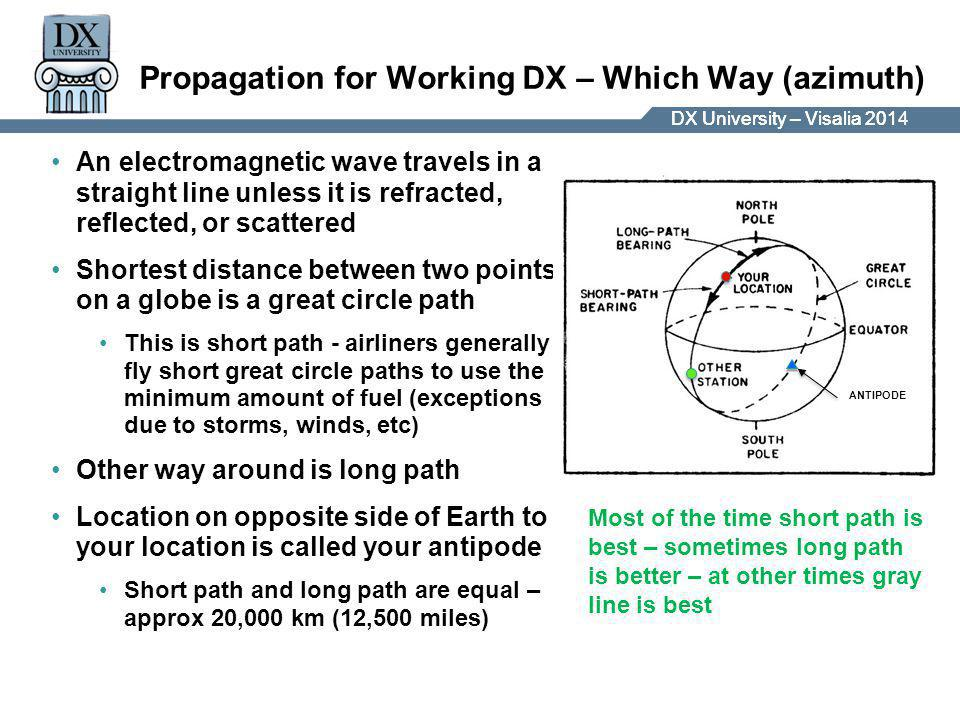 DX University – Visalia 2014DX University – Visalia 201 Propagation for Working DX – Which Way (azimuth) An electromagnetic wave travels in a straight line unless it is refracted, reflected, or scattered Shortest distance between two points on a globe is a great circle path This is short path - airliners generally fly short great circle paths to use the minimum amount of fuel (exceptions due to storms, winds, etc) Other way around is long path Location on opposite side of Earth to your location is called your antipode Short path and long path are equal – approx 20,000 km (12,500 miles) ANTIPODE Most of the time short path is best – sometimes long path is better – at other times gray line is best