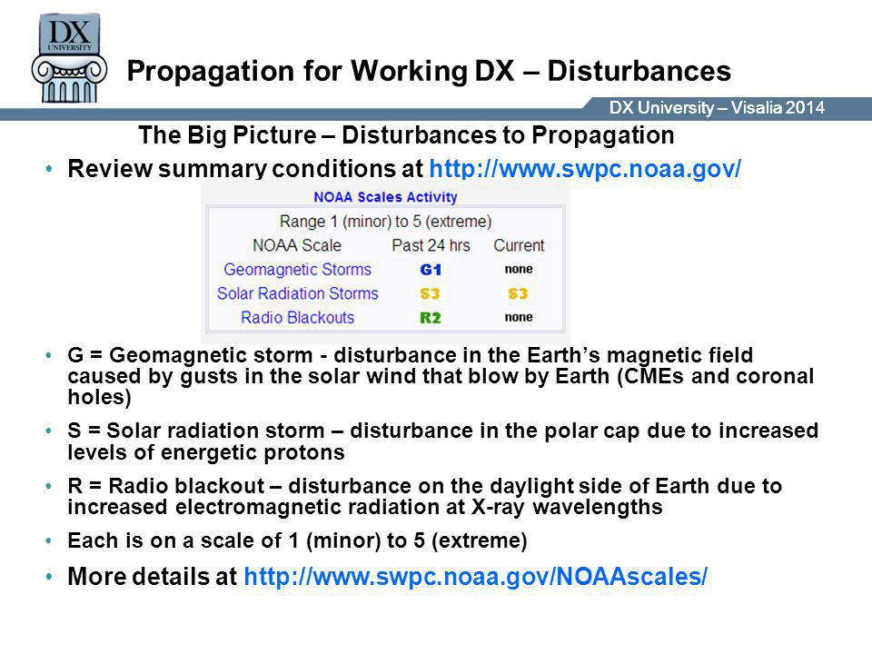 DX University – Visalia 2014DX University – Visalia 201 Propagation for Working DX – Disturbances Review summary conditions at http://www.swpc.noaa.gov/ G = Geomagnetic storm - disturbance in the Earth's magnetic field caused by gusts in the solar wind that blow by Earth (CMEs and coronal holes) S = Solar radiation storm – disturbance in the polar cap due to increased levels of energetic protons R = Radio blackout – disturbance on the daylight side of Earth due to increased electromagnetic radiation at X-ray wavelengths Each is on a scale of 1 (minor) to 5 (extreme) More details at http://www.swpc.noaa.gov/NOAAscales/ The Big Picture – Disturbances to Propagation