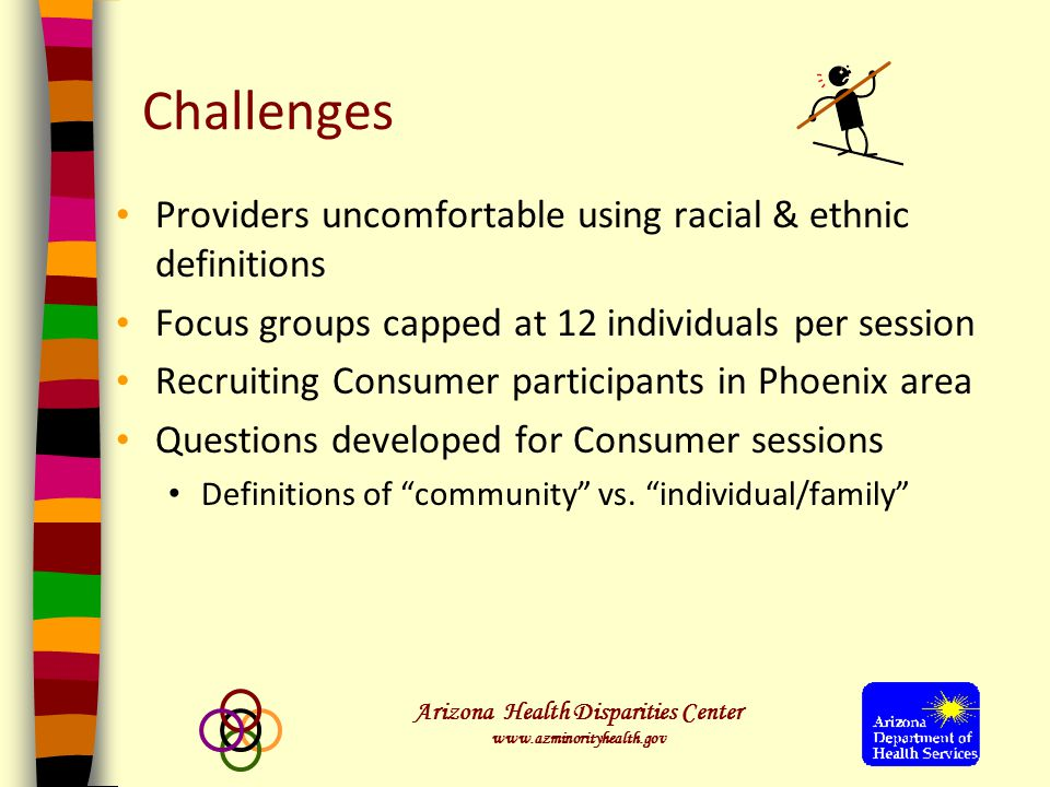 Arizona Health Disparities Center www.azminorityhealth.gov Challenges Providers uncomfortable using racial & ethnic definitions Focus groups capped at 12 individuals per session Recruiting Consumer participants in Phoenix area Questions developed for Consumer sessions Definitions of community vs.