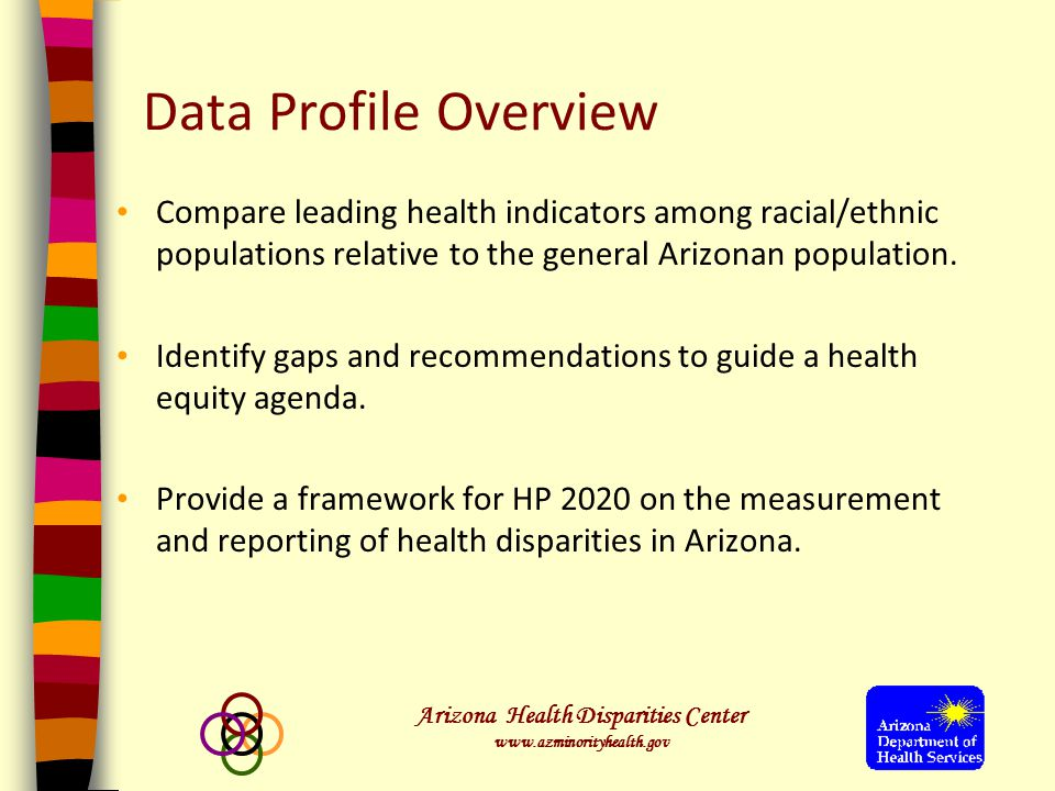 Arizona Health Disparities Center www.azminorityhealth.gov Data Profile Overview Compare leading health indicators among racial/ethnic populations relative to the general Arizonan population.