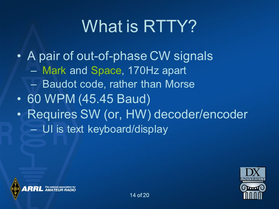 14 of 20 What is RTTY? A pair of out-of-phase CW signals – Mark and Space, 170Hz apart – Baudot code, rather than Morse 60 WPM (45.45 Baud) Requires S