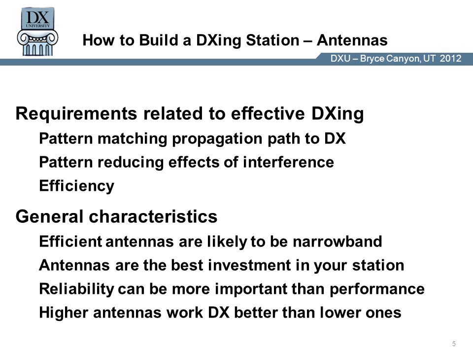 DX University – Visalia 2012 5 DXU – Bryce Canyon, UT 2012 How to Build a DXing Station – Antennas Requirements related to effective DXing Pattern matching propagation path to DX Pattern reducing effects of interference Efficiency General characteristics Efficient antennas are likely to be narrowband Antennas are the best investment in your station Reliability can be more important than performance Higher antennas work DX better than lower ones