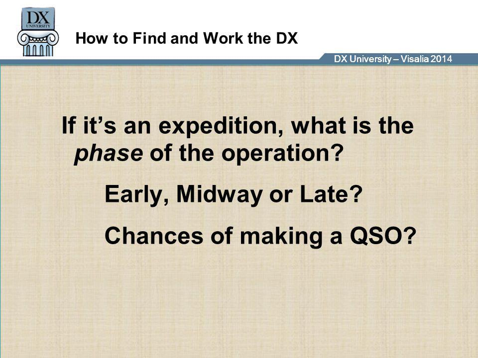 DX University – Visalia 2014DX University – Visalia 201 How to Find and Work the DX If it's an expedition, what is the phase of the operation? Early,