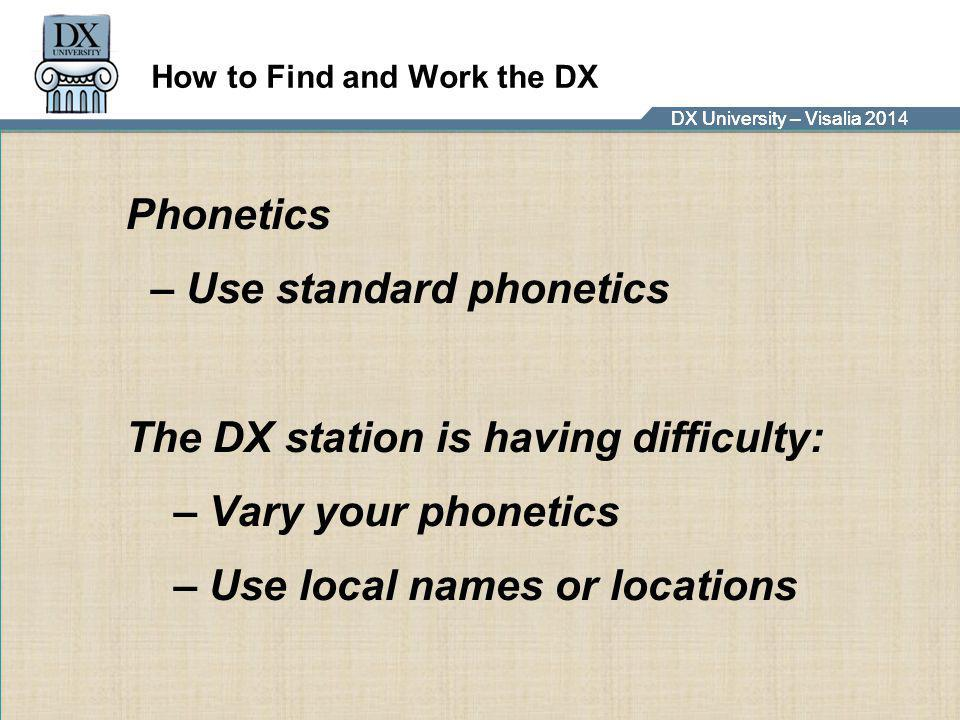 DX University – Visalia 2014DX University – Visalia 201 How to Find and Work the DX Phonetics – Use standard phonetics The DX station is having diffic